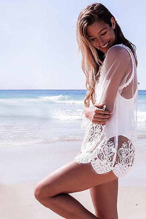 Lace Embroidered See-through Blouse