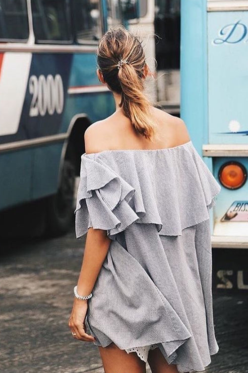 Tartan Off the Shoulder Ruffle Dress