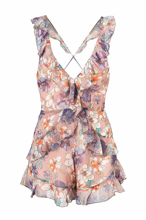 Lotus Print Ruffle Up Backless Romper
