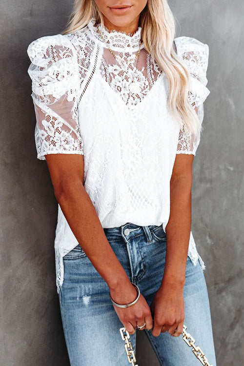 Full Of Wonder Lace Short Sleeve Top - 2 Colors