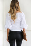 Puff Sleeve V-neck Shirt
