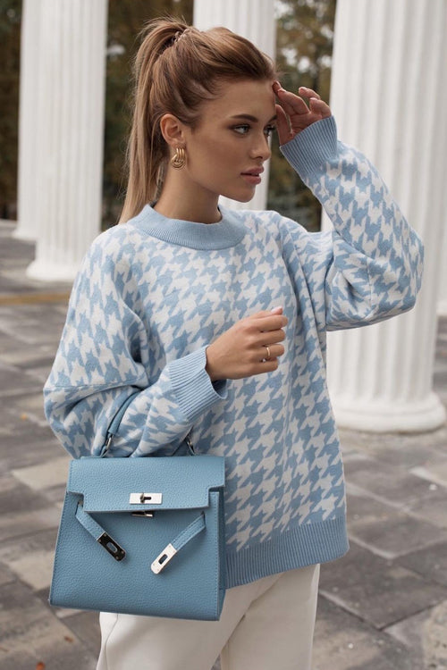 Warmed Up Houndstooth Knit Sweater - 3 Colors