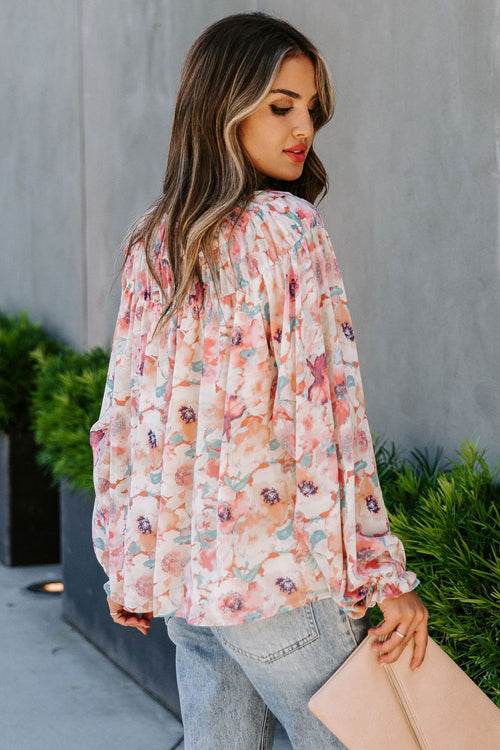 Sweet Fling Pink Floral Pring Long Sleeve Top