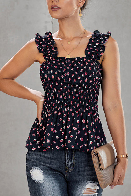 Forever Young Flower Print Pleated Tank Top - 3 Colors