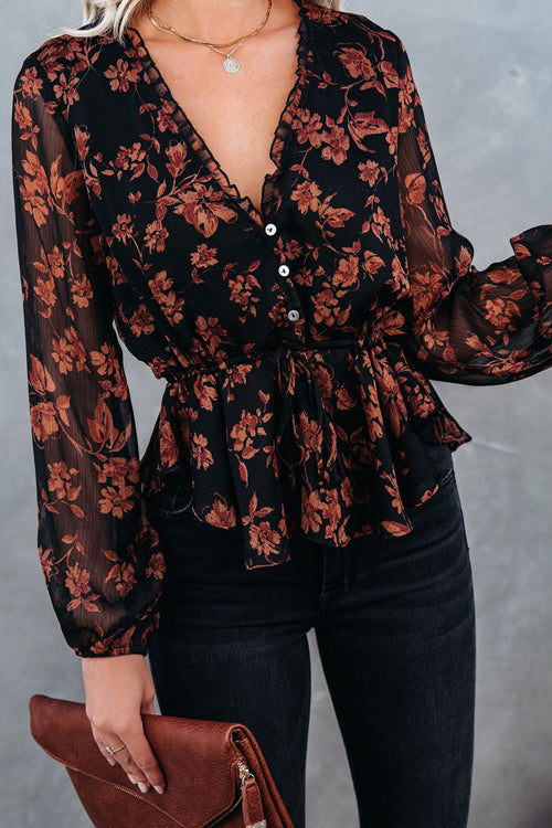 Having A Moment V-Neck Floral Print Top