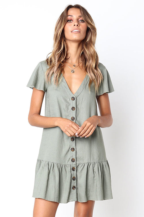 Button-up V-neck Ruffle Mini Dress - 4 Colors
