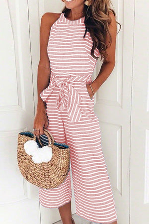 Stripe Bowknot Sleeve Jumpsuit - 4 Colors