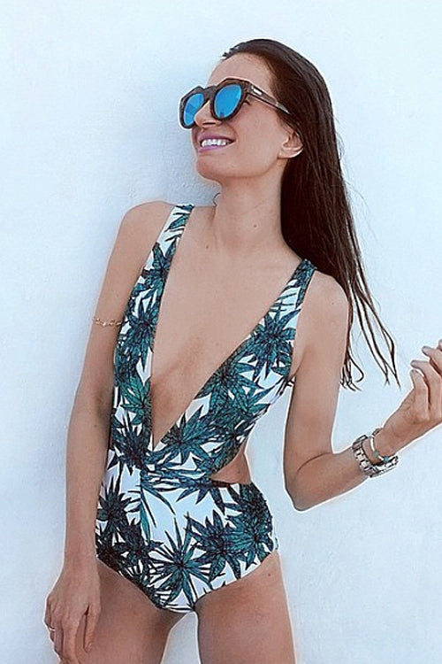 Backless Palm V-neck Swimwear