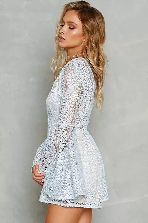 V-neck Lace Embroidered Romper
