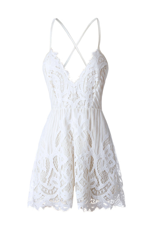 Lace Backless V-neck Romper