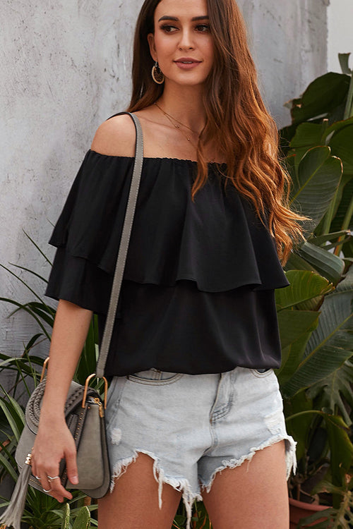 Moment of Bliss Off Shoulder Layered Top - 3 Colors