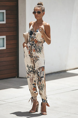 Divine Time Side-Slit Floral Print Jumpsuit - 4 Colors