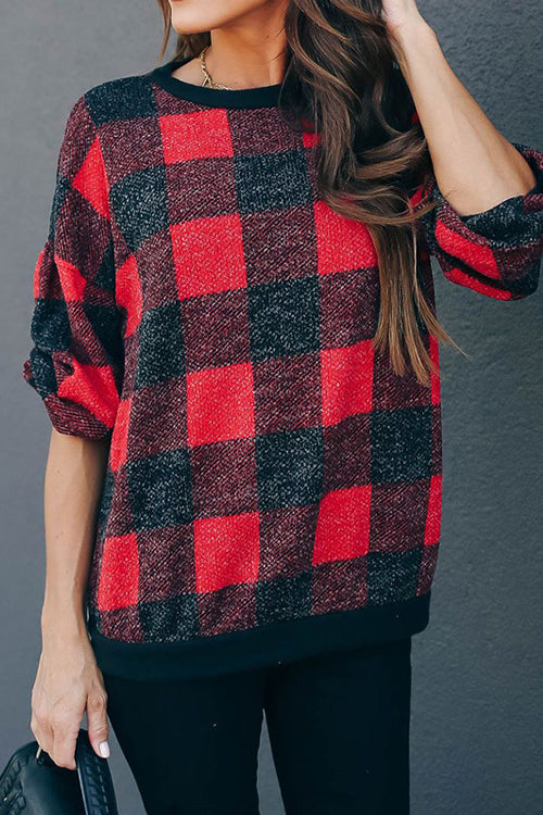 All at Once Gingham Long Sleeve Pullover - 2 Colors