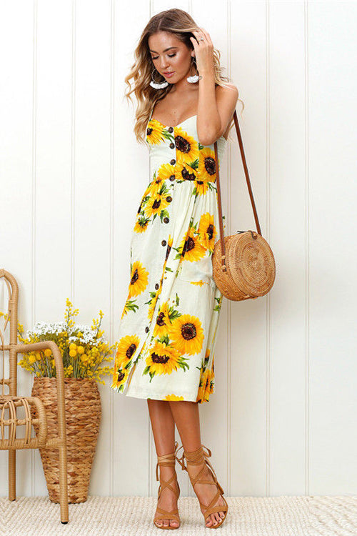 Sunflower Fit&Flare Print Midi Dress - 9 Colors