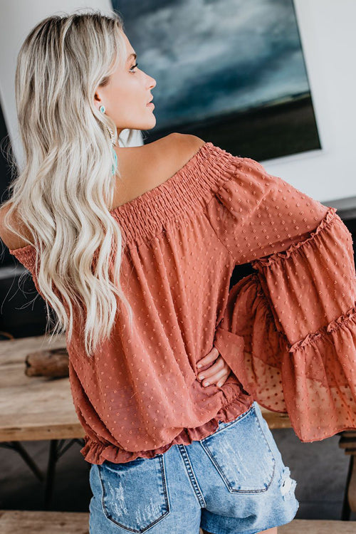 In the Breeze Dot Off Shoulder Shirt - 3 Colors