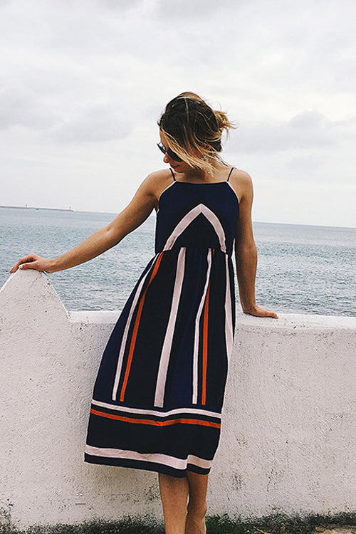 Spaghetti Stripe Midi Dress