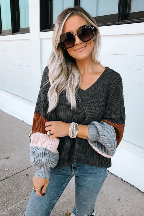 It's Chilly Out V-Neck Striped Knit Sweater