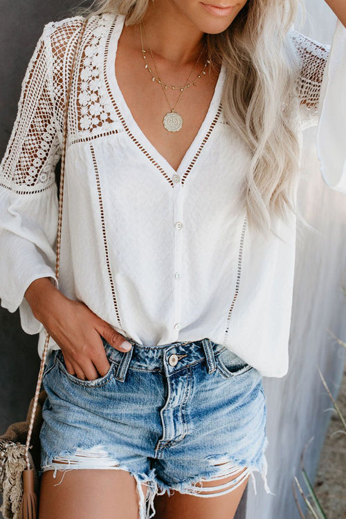 Casually Cute Lace Hollow-Out Top - 4 Colors