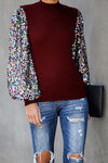 Holiday Ready Colorful Sequins Knit Top
