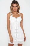 Lace Drawstring Cross Shift Dress - 2 Colors