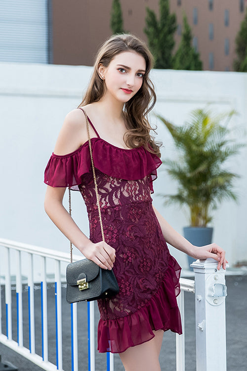 Lace Ruffle Hem Wrap Mini Dress - 3 Colors