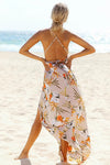 Tropical Print Backless Dress