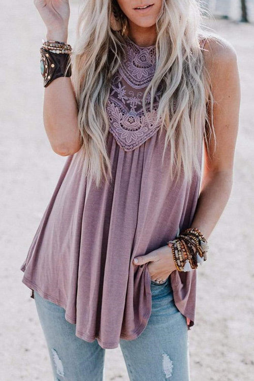 Pleasantly Cozy Lace Embroidered Sleeveless Top - 2 Colors