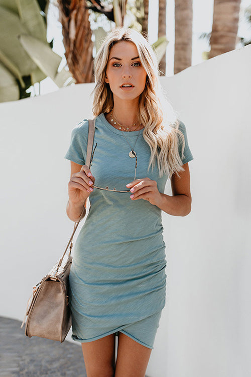 Summertime Pure Color Pleated Mini Dress - 3 Colors