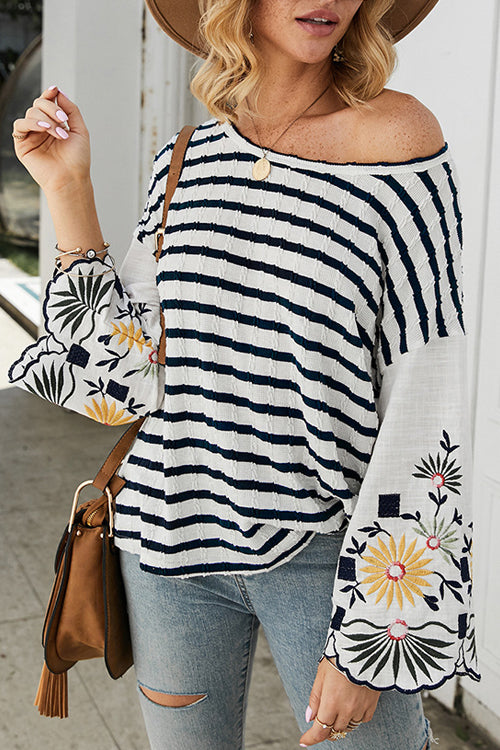 Downtown Girls Striped Floral Embroidered Sleeve Knit Top - 3 Colors