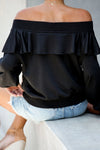 In the Breeze Ruffle Off Shoulder Pullover - 2 Colors