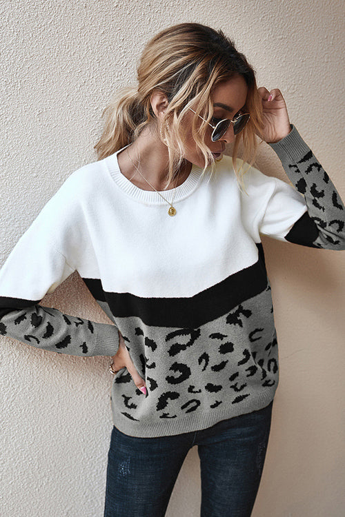 Going For Cozy Leopard Long Sleeve Sweater - 3 Colors