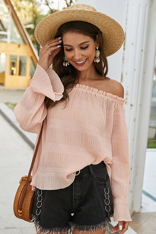 Taking It Easy Off Shoulder Pleated Top - 3 Colors