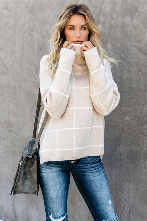 Cozy Moments TurtleNeck Check Knit Sweater - 3 Colors