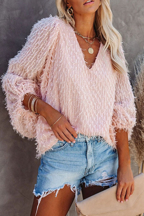 Chic Frills Balloon Sleeve Feather Tassel Top - 2 Colors