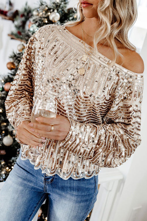 Party Ready Golden Sequin Long Sleeve Top