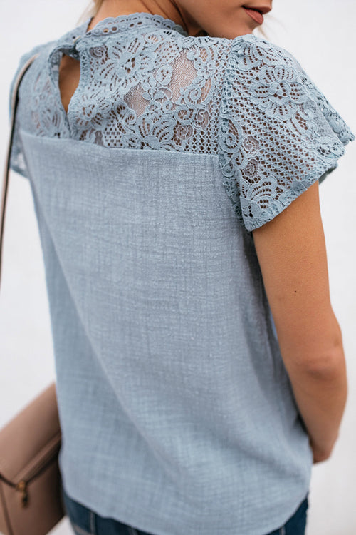 Not So Secret Lace Overlay Ruffle Top - 3 Colors