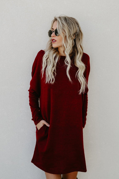 Keep It Toasty Pocket Knit Dress - 6 Colors