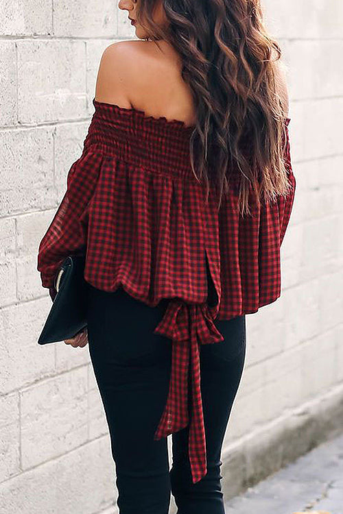 Jingle Bells Off Shoulder Tartan Shirt
