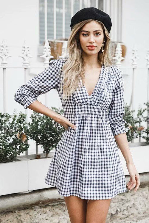 Rock Pattern V-neck Half Sleeve Dress