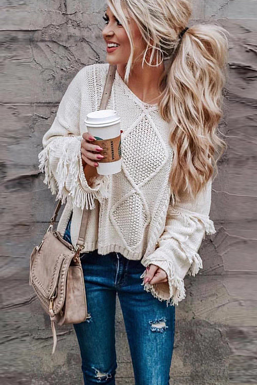 Look What You Made Me Do Tassel Knit Sweater