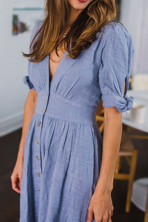 Gotta Have You Button-up V-neck Dress - 2 Colors