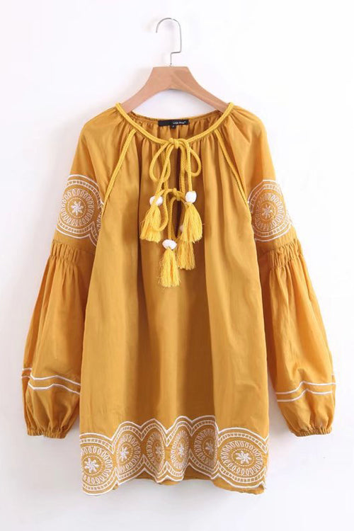 Lullaby Vintage Embroidery Mini Dress