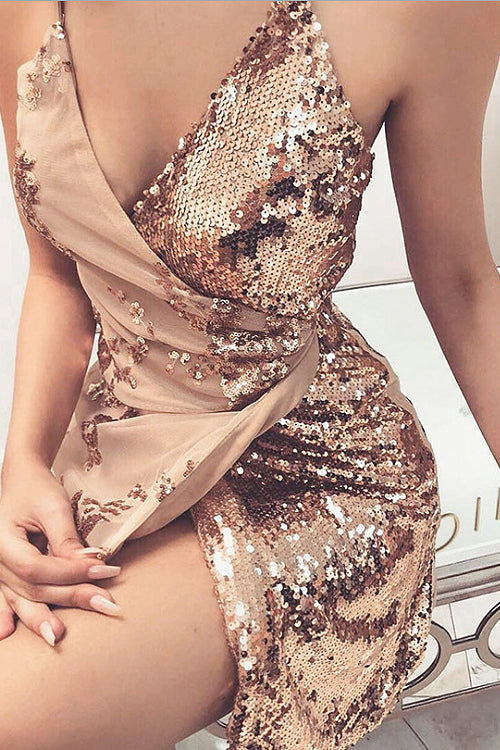 Divine Nights Golden Sequin Mini Dress