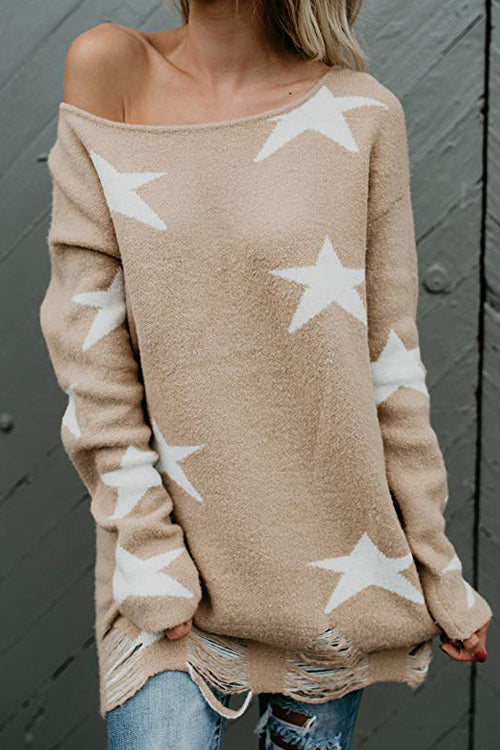 Wind Whisper Star Casual Knit Sweater - 2 Colors