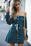 Cocktail Blue Off the Shoulder Dot Dress
