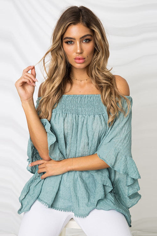 Crush on You Off Shoulder Ruffle&Flare Blouse - 3 Colors