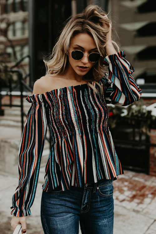 Take Me to Brunch Rainbow Stripe Pleated Top