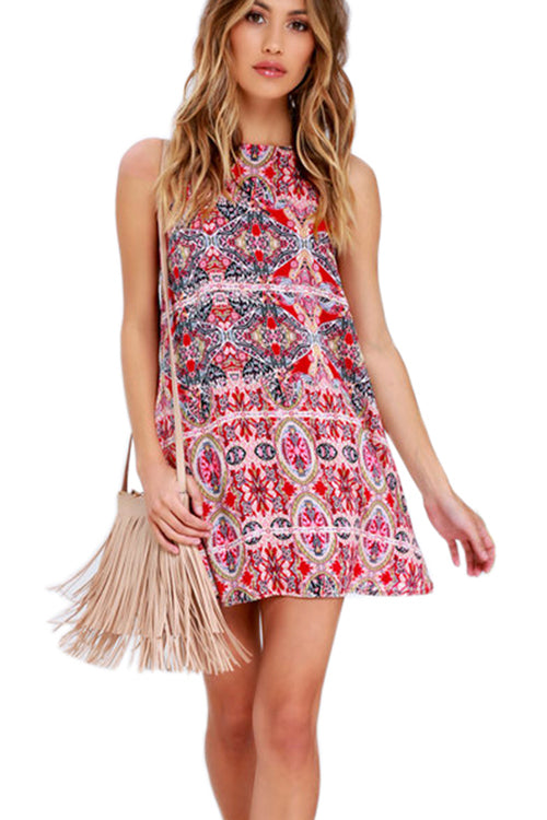 Halter Neck Boho Print Mini Dress - 2 Colors