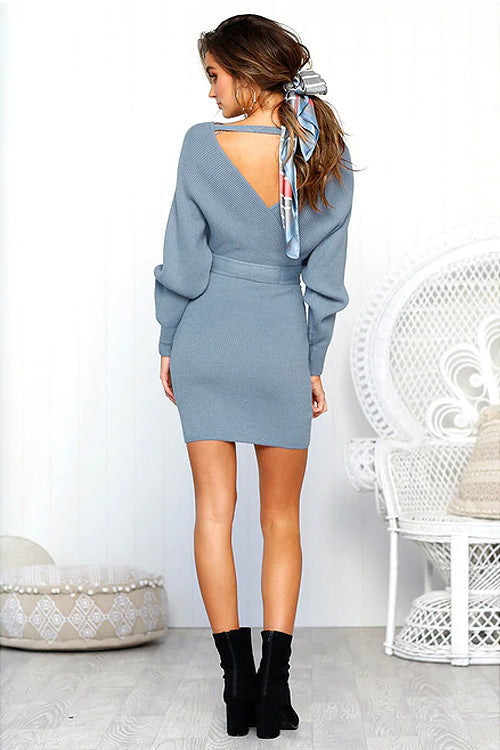 Serving Looks Tied-Up Sweater Dress - 5 Colors