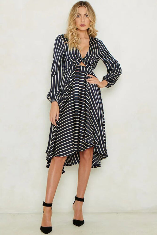 Let's Slip Away Stripe Full Midi Dress